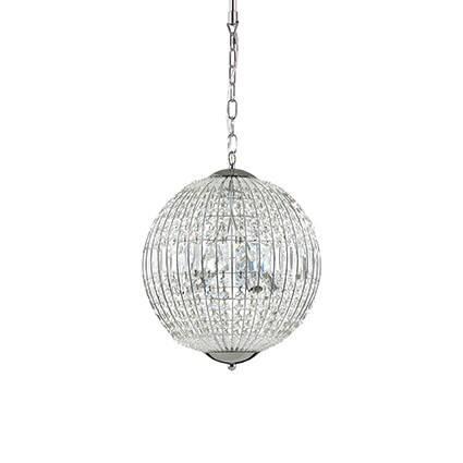 Lampa wisząca LUXOR SP6 Ideal Lux  092911   klosz w kształcie kuli z ciętych kryształków
