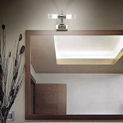 Kinkiet Double AP2 CROMO Ideal Lux  008851 z metalu i ma kolor chromu idealna nad lustro